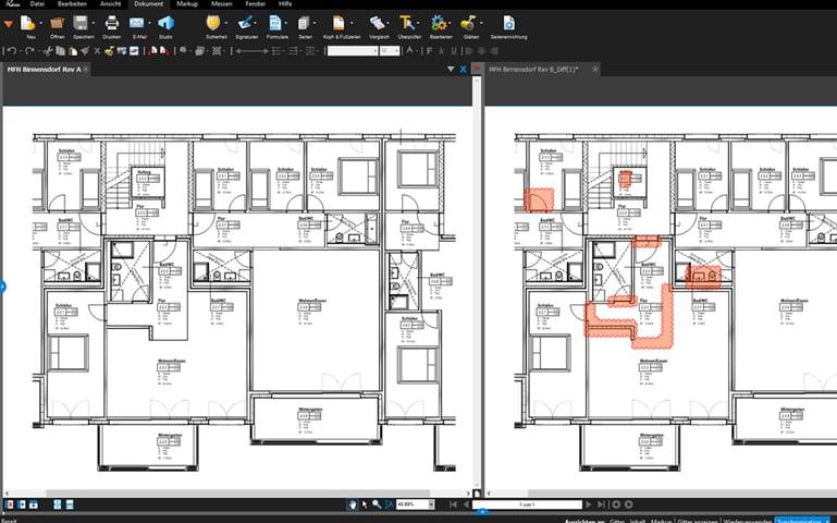 Unterschiede in Plänen in Bluebeam Revu anzeigen